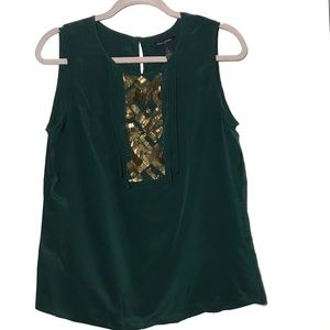 Banana republic green gold silk top embellished 12